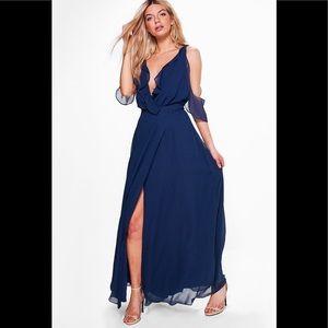 Navy blue wrap maxi dress
